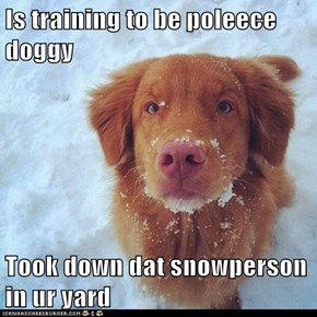 Is training to be poleece doggy  Took down dat snowperson in ur yard