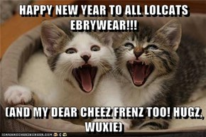 HAPPY NEW YEAR TO ALL LOLCATS EBRYWEAR!!!  (AND MY DEAR CHEEZ FRENZ TOO! HUGZ, WUXIE)