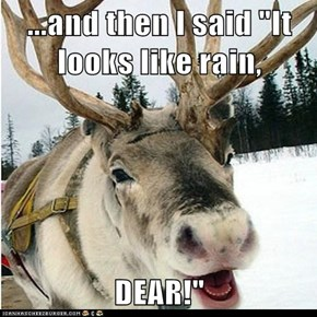 "...and then I said ""It looks like rain,  DEAR!"""