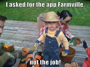 I asked for the app Farmville,  not the job!