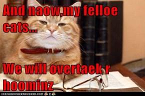 And naow,my felloe cats...  We will overtaek r hoominz