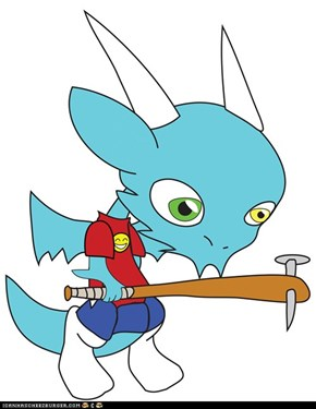Chibi vector Qujin with baseball bat