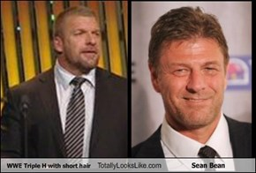 WWE Triple H with short hair Totally Looks Like Sean Bean