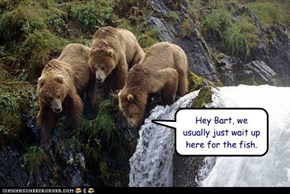 Hey Bart, we usually just wait up here for the fish.