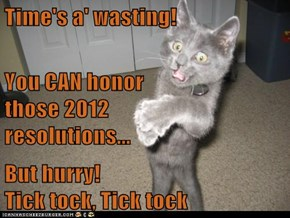 Time's a' wasting! You CAN honor                              those 2012                            resolutions... But hurry!                                       Tick tock, Tick tock