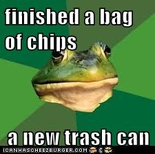 finished a bag of chips  a new trash can