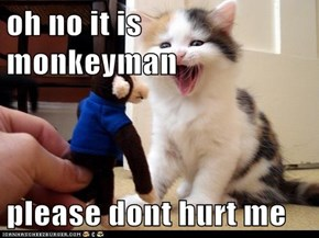 oh no it is monkeyman  please dont hurt me