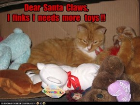 Dear  Santa  Claws, I  finks  i  needs  more   toys !!
