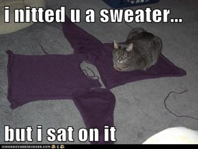 i nitted u a sweater...  but i sat on it