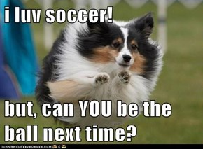 i luv soccer!  but, can YOU be the ball next time?