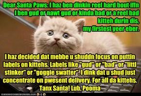 Letters to Santa 2012: Pooma haz ben dinkin