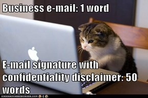 Business e-mail: 1 word  E-mail signature with confidentiality disclaimer: 50 words