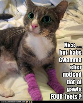 Probably not, since she's also never noticed that kittehs don't wear socks.