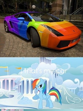 Rainbow Dash and her car