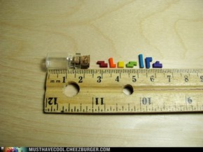 Tiny Tetris in a Bottle Necklace