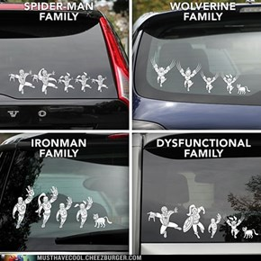 Marvel Superhero Family Car Decals
