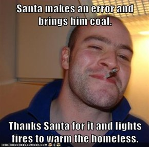 Santa makes an error and brings him coal.