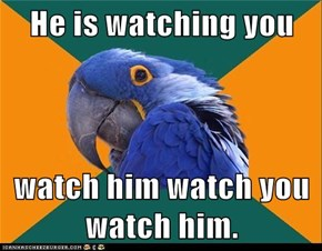 He is watching you  watch him watch you watch him.