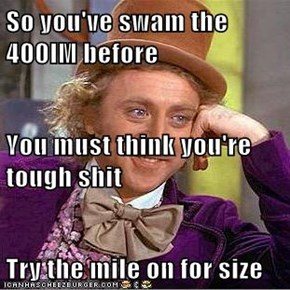 So you've swam the 400IM before                                                                                                                    You must think you're tough sh*t Try the mile on for size