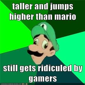 taller and jumps higher than mario  still gets ridiculed by gamers