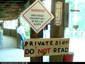 child slavery and private signs