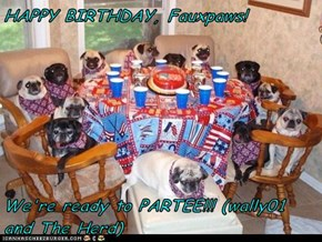HAPPY BIRTHDAY, Fauxpaws!  We're ready to PARTEE!!! (wally01 and The Herd)