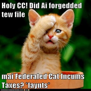 Holy CC! Did Ai forgedded tew file  mai Federaled Cat Incums Taxes? *faynts*