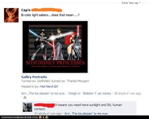 "Um, yeah, I was looking at their ""sabers""..."