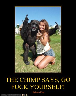 THE CHIMP SAYS, GO F**K YOURSELF!