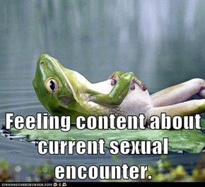 Feeling content about current sexual encounter.