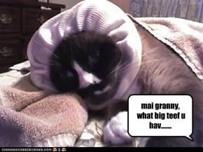 mai granny,  what big teef u hav.......