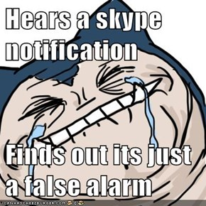 Hears a skype notification  Finds out its just a false alarm