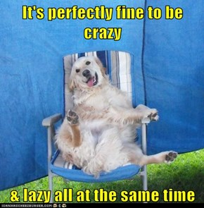 It's perfectly fine to be crazy  & lazy all at the same time
