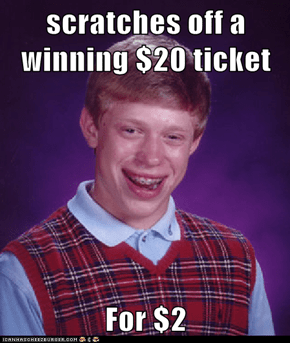 scratches off a winning $20 ticket  For $2