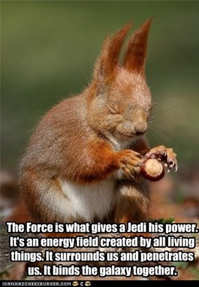 The Force is what gives a Jedi his power. It's an energy field created by all living things. It surrounds us and penetrates us. It binds the galaxy together.