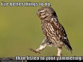 I've better things to do,  than listen to your yammering.