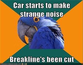 Car starts to make strange noise  Breakline's been cut