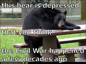 this bear is depressed that you think the Civil War happened a few decades ago
