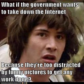 What if the government wants to take down the Internet  Because they're too distracted by funny pictures to get any work done?
