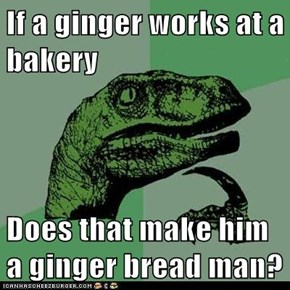 If a ginger works at a bakery  Does that make him a ginger bread man?