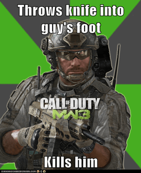Throws knife into guy's foot  Kills him