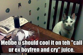 "Mebbe u should cool it on teh ""call ur ex boyfren and cry"" juice."