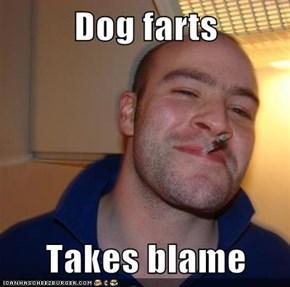 Dog farts  Takes blame