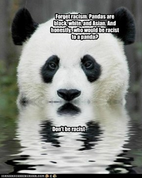 Forget racism. Pandas are black, white, and Asian. And honestly,  who would be racist to a panda?