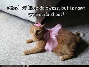 Otay!  Ai likez da dwess, but iz nawt wearin da shooz!