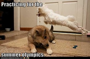 Practicing for the  summer olympics.