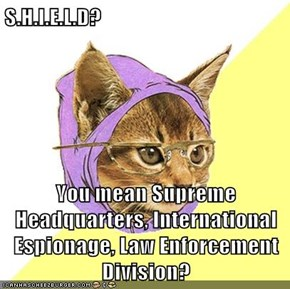 S.H.I.E.L.D?  You mean Supreme Headquarters, International Espionage, Law Enforcement Division?