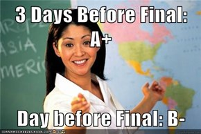 3 Days Before Final: A+  Day before Final: B-