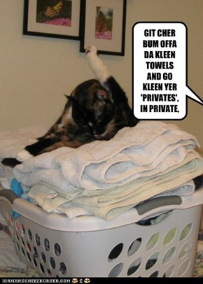 GIT CHER BUM OFFA DA KLEEN TOWELS AND GO  KLEEN YER 'PRIVATES', IN PRIVATE,