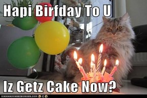 Hapi Birfday To U   Iz Getz Cake Now?